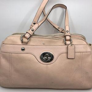 COACH L Cream Leather Shoulder Bag